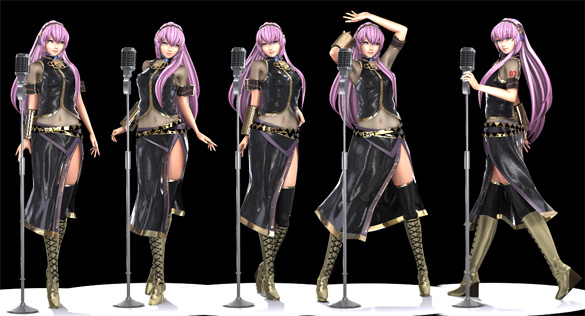 6 Megurine Luka 3D Model Poses