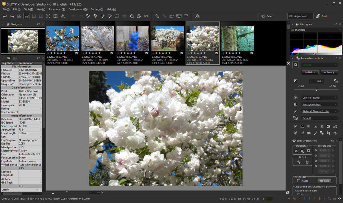 A dedicated workspace for working with SILKYPIX photo adjustment tools.
