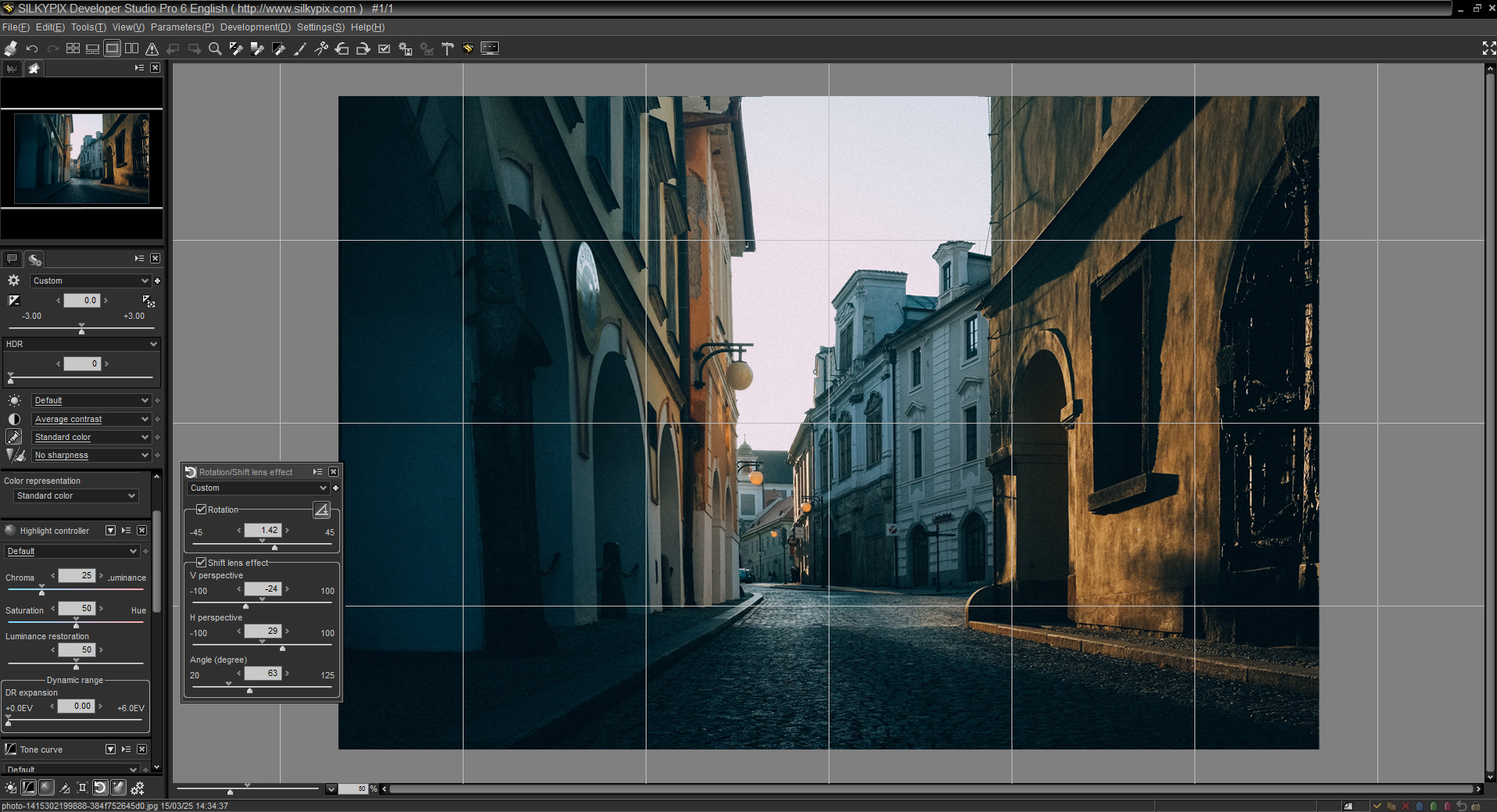 Adjust photo perspective by adjusting the Rotation sliders in SILKYPIX