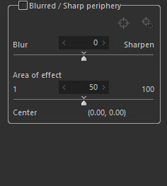 Establish a center point in your photo to apply a blur or sharpening adjustment