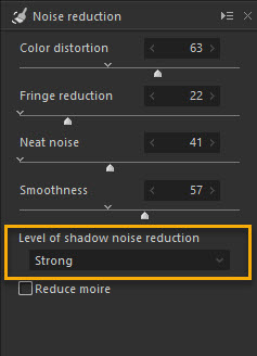 Level of Shadow Noise Reduction Option in Noise Reduction Tool