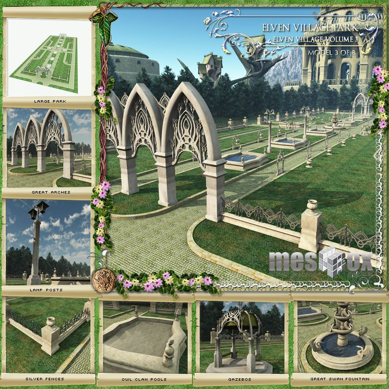 Elven Village Park 3D Model