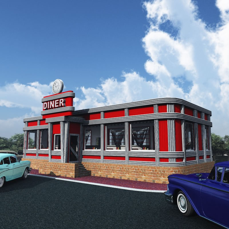 Fedoraville 1950s American Diner 3d Model