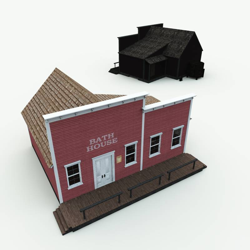 Old west bath house 3d model for Bath house shop