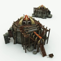 Orc Village Watermill 3D Building