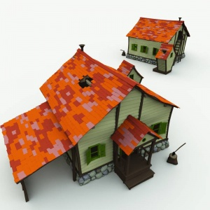 Creepy Farmhouse and Outhouse 3D Building