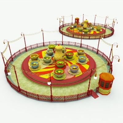 Amusement Park Tea Cups Ride 3d Model