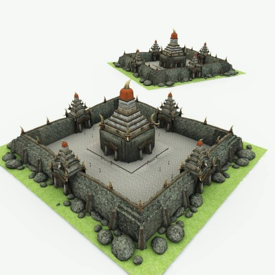 Orc Village Church 3D Building